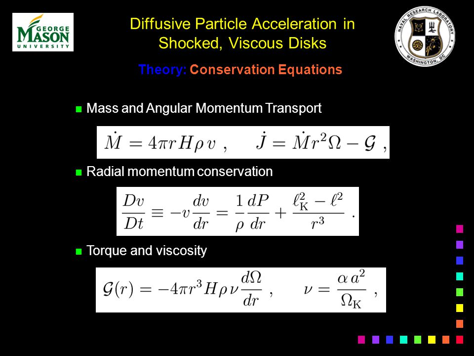 Diffusive Particle Acceleration in Shocked, Viscous Disks n Mass and Angular Momentum Transport n Radial momentum conservation n Torque and viscosity Theory: Conservation Equations