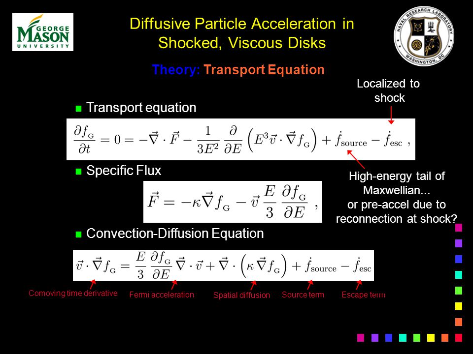 Diffusive Particle Acceleration in Shocked, Viscous Disks Theory: Transport Equation n Transport equation n Specific Flux n Convection-Diffusion Equation Fermi acceleration Spatial diffusion Source term Comoving time derivative Escape term Localized to shock High-energy tail of Maxwellian...