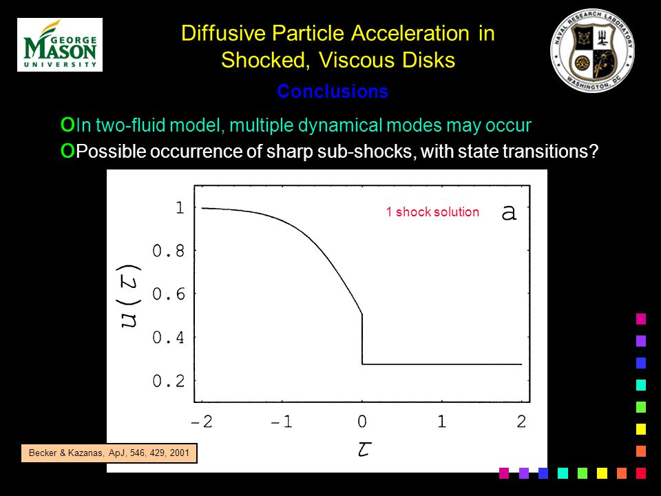 Diffusive Particle Acceleration in Shocked, Viscous Disks o In two-fluid model, multiple dynamical modes may occur o Possible occurrence of sharp sub-shocks, with state transitions.