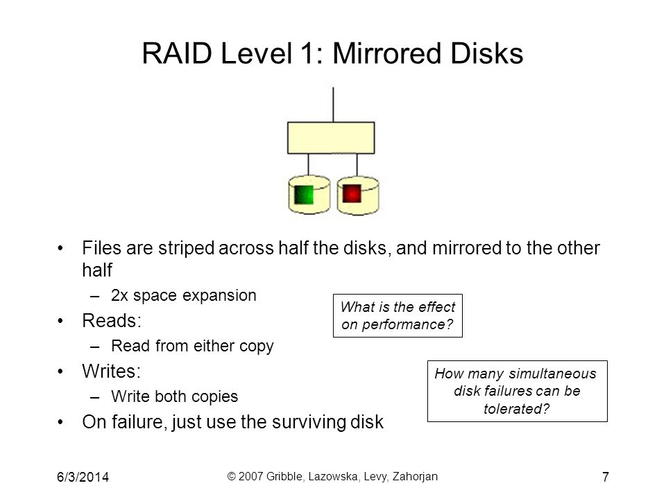 6/3/2014 © 2007 Gribble, Lazowska, Levy, Zahorjan 8 RAID Levels 2, 3, and 4: Striping + Parity Disk RAID levels 2, 3, and 4 use ECC (error correcting code) or parity disks –E.g., each byte on the parity disk is a parity function of the corresponding bytes on all the other disks A large read accesses all the data disks –A single block read accesses only one disk (RAID 4) A write updates one or more data disks plus the parity disk Resilient to single disk failures (How?) Better ECC higher failure resilience more parity disks
