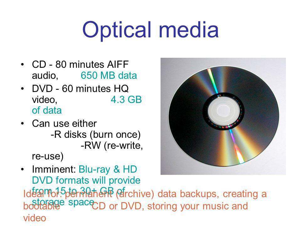Optical media Pros: Cheap Burners and software included with most Macs Versatile ( can store music, video, or data, ready to go ) Cons: SLOW.