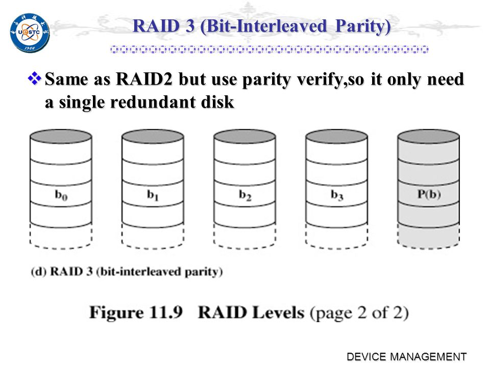 DEVICE MANAGEMENT RAID 2 Strips are very small, as a single byte or word.