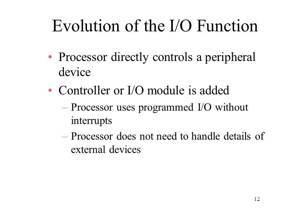 12 Evolution of the I/O Function Processor directly controls a peripheral device Controller or I/O module is added –Processor uses programmed I/O with