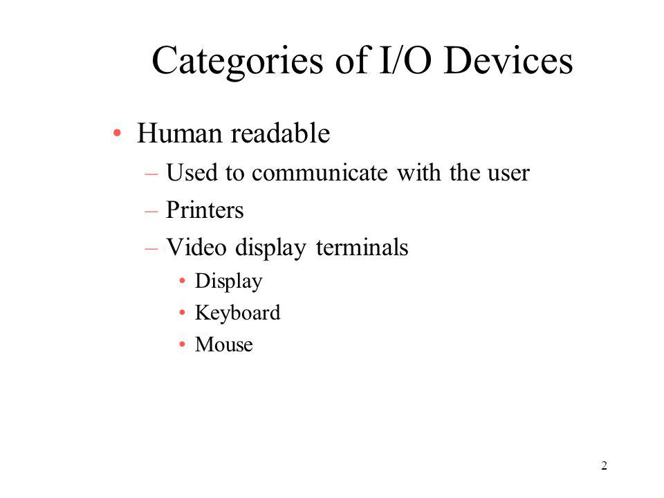 2 Categories of I/O Devices Human readable –Used to communicate with the user –Printers –Video display terminals Display Keyboard Mouse