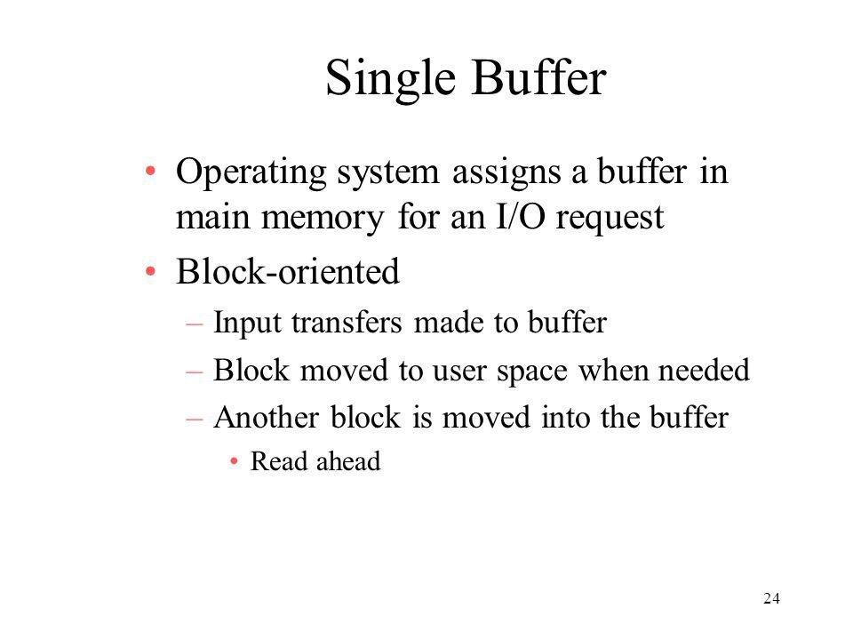 24 Single Buffer Operating system assigns a buffer in main memory for an I/O request Block-oriented –Input transfers made to buffer –Block moved to us