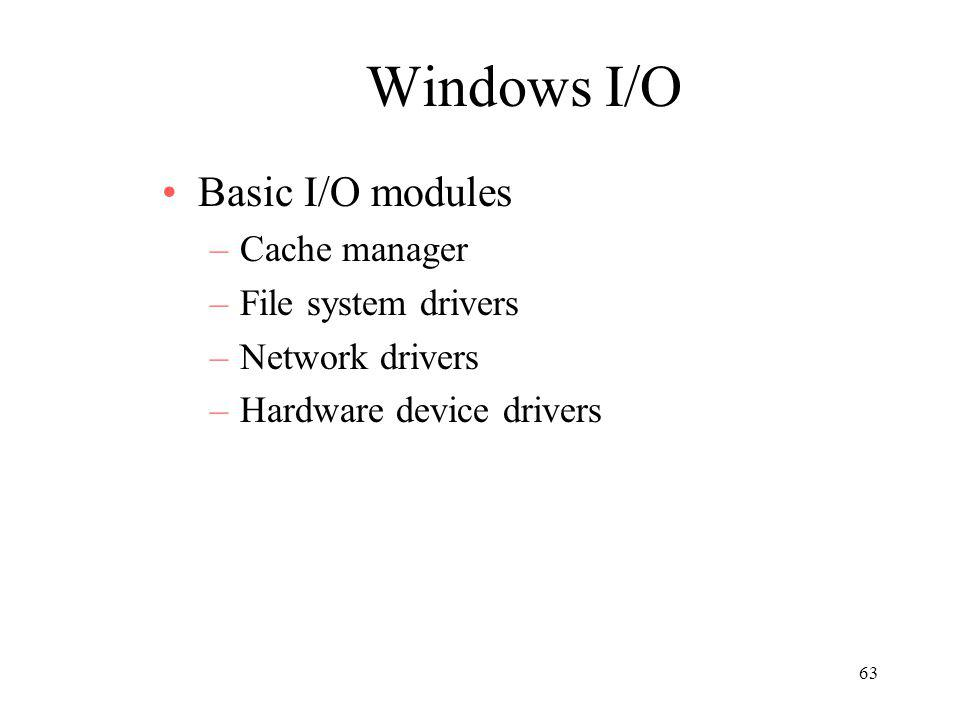 63 Windows I/O Basic I/O modules –Cache manager –File system drivers –Network drivers –Hardware device drivers