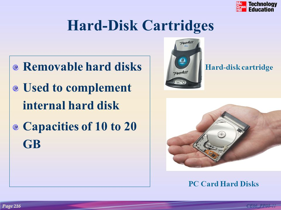 CE06_PP08-11 Hard-Disk Cartridges Removable hard disks Used to complement internal hard disk Capacities of 10 to 20 GB PC Card Hard Disks Page 216 Har