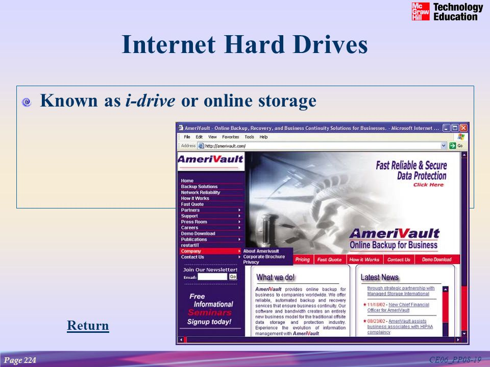 CE06_PP08-19 Internet Hard Drives Known as i-drive or online storage Page 224 Return