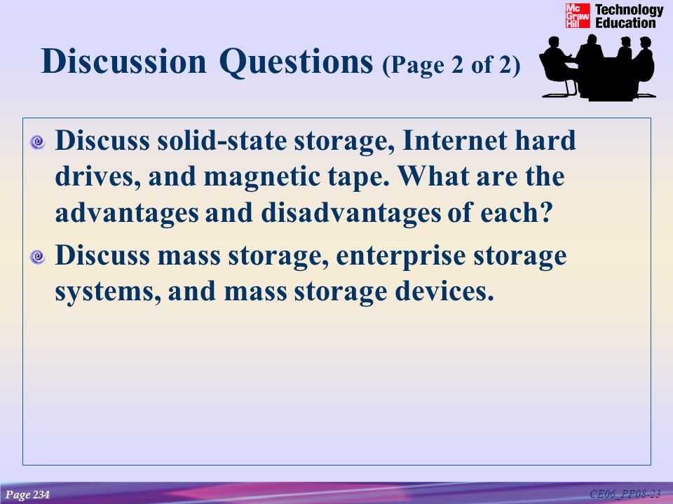 CE06_PP08-23 Discussion Questions (Page 2 of 2) Discuss solid-state storage, Internet hard drives, and magnetic tape.