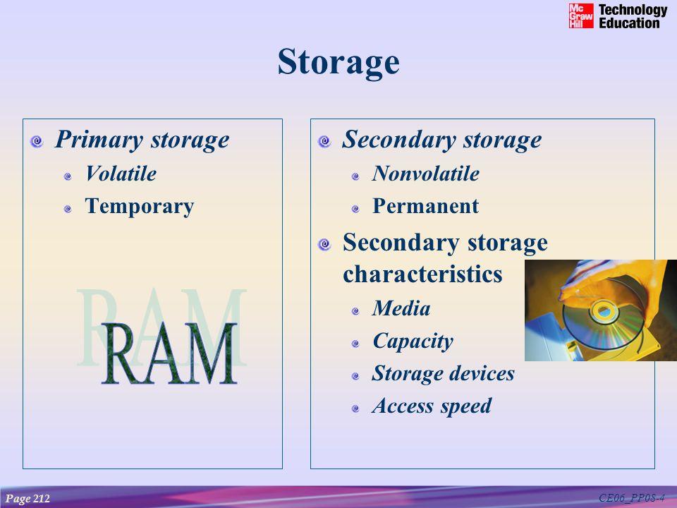 CE06_PP08-4 Storage Primary storage Volatile Temporary Secondary storage Nonvolatile Permanent Secondary storage characteristics Media Capacity Storag