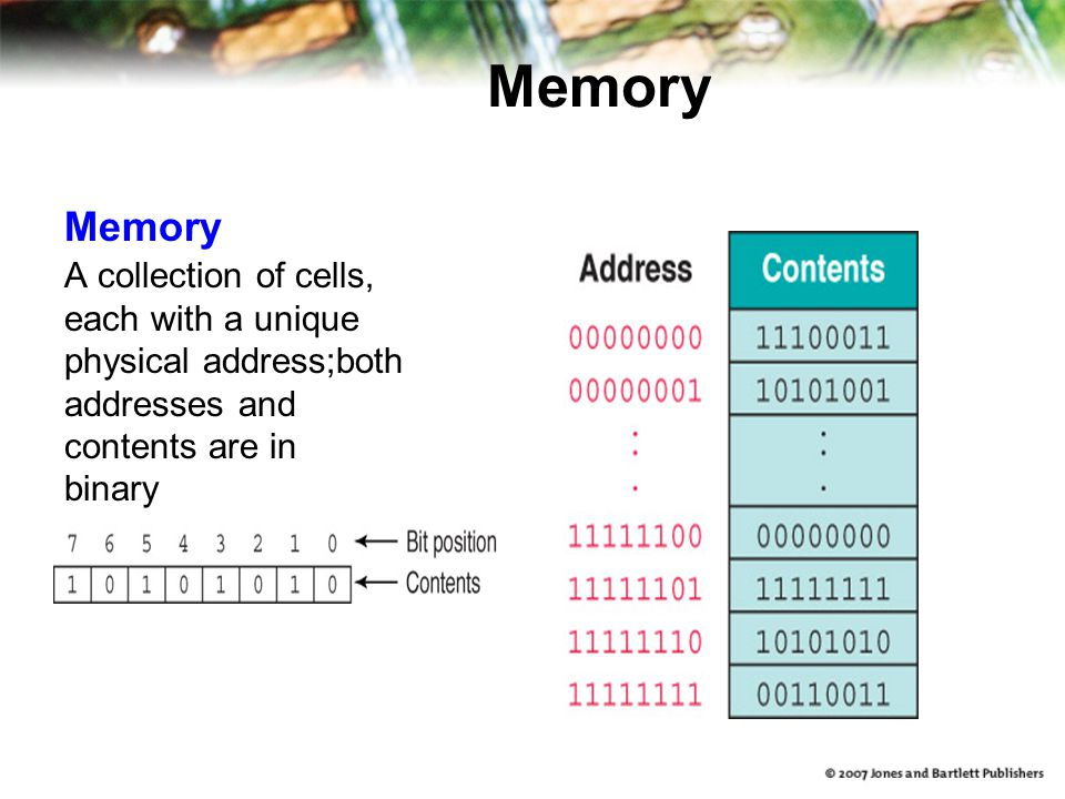 Memory A collection of cells, each with a unique physical address;both addresses and contents are in binary