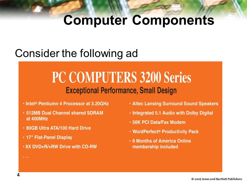 4 Computer Components Consider the following ad