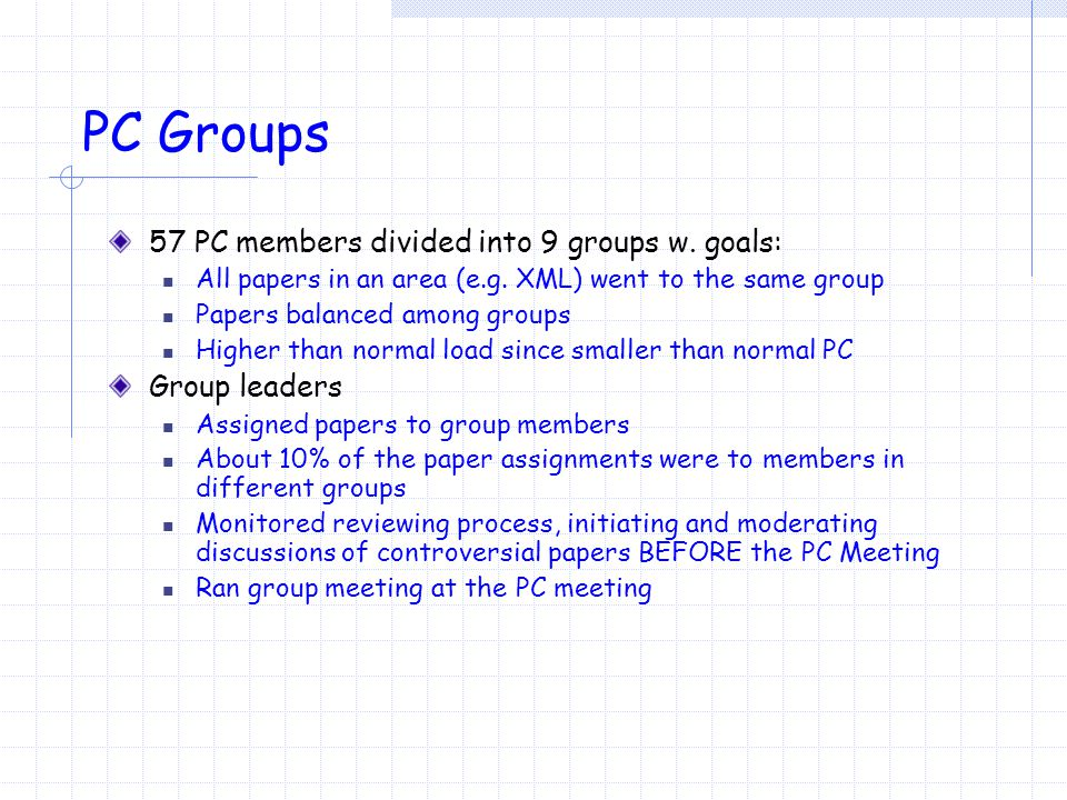 PC Groups 57 PC members divided into 9 groups w. goals: All papers in an area (e.g.