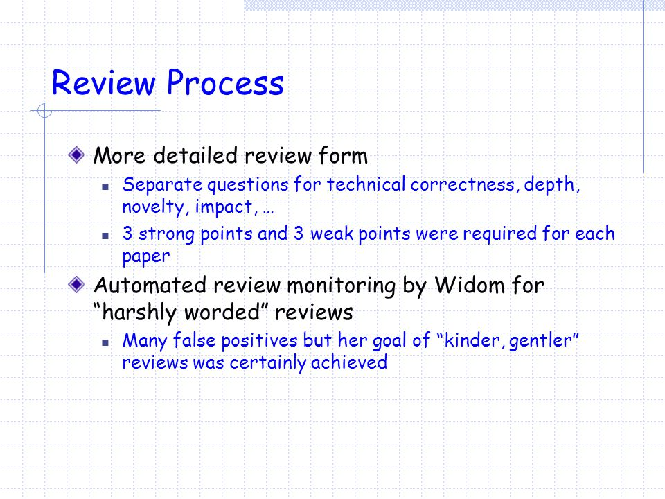 Review Process More detailed review form Separate questions for technical correctness, depth, novelty, impact, … 3 strong points and 3 weak points were required for each paper Automated review monitoring by Widom for harshly worded reviews Many false positives but her goal of kinder, gentler reviews was certainly achieved