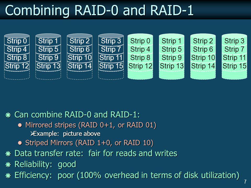7 Combining RAID-0 and RAID-1 Strip 12 Strip 8 Strip 4 Strip 0 Strip 13 Strip 9 Strip 5 Strip 1 Strip 14 Strip 10 Strip 6 Strip 2 Strip 15 Strip 11 St