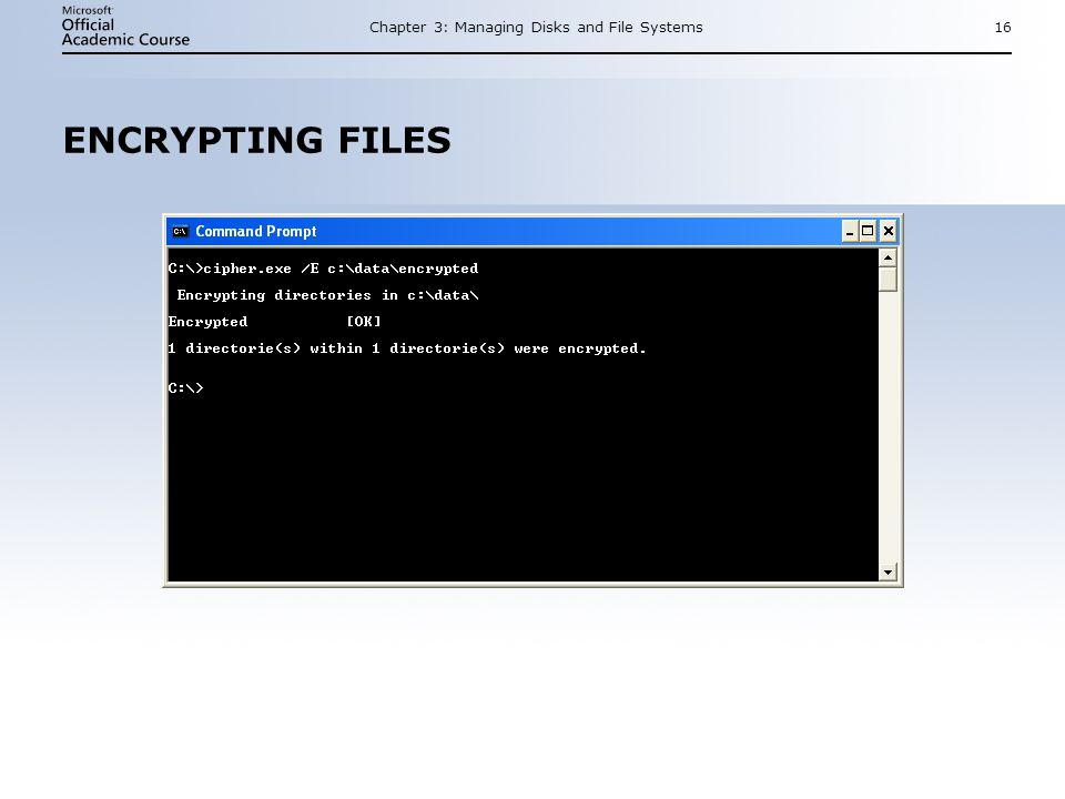 Chapter 3: Managing Disks and File Systems16 ENCRYPTING FILES