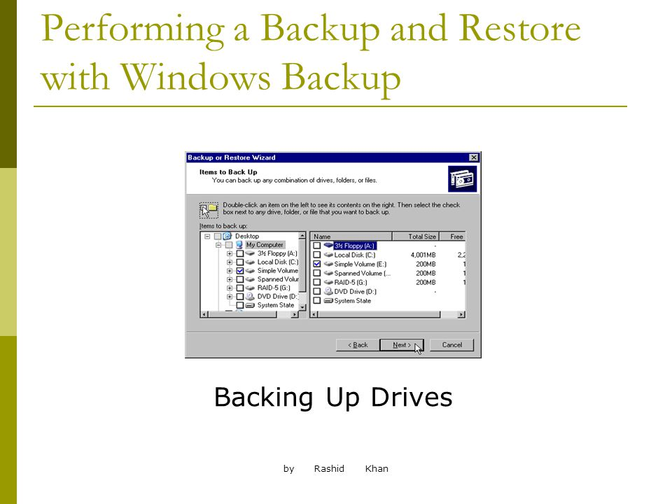 by Rashid Khan Performing a Backup and Restore with Windows Backup Backing Up Drives