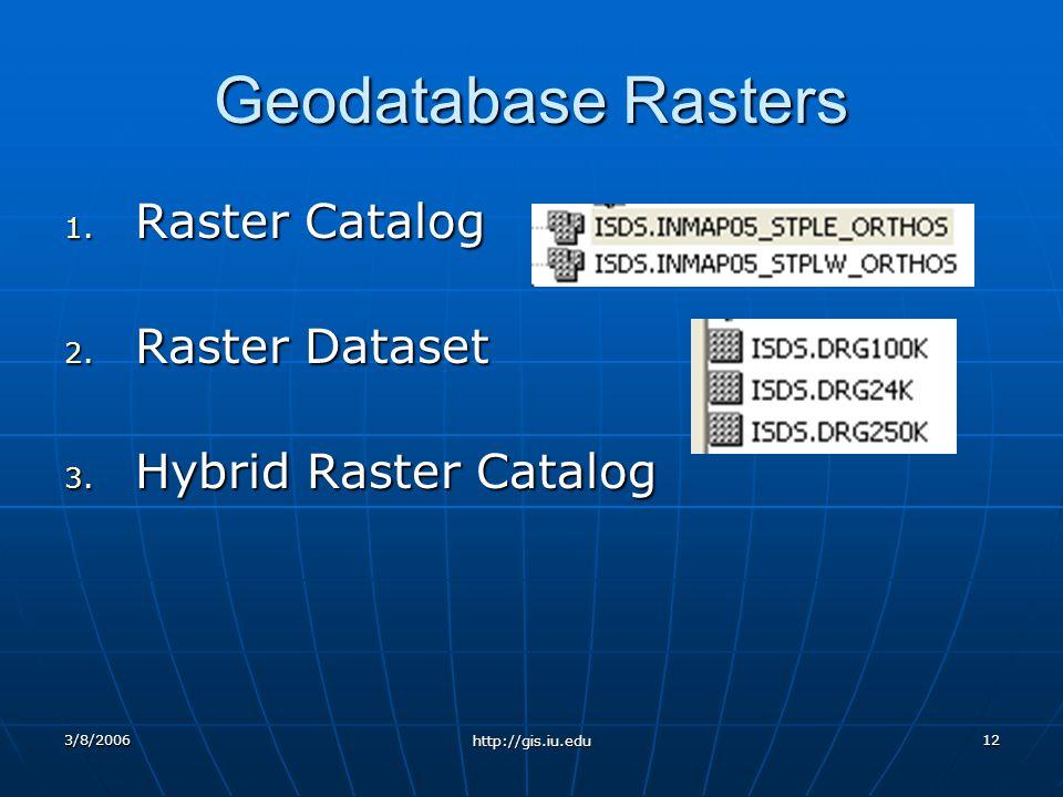 3/8/2006 http://gis.iu.edu 12 Geodatabase Rasters 1.