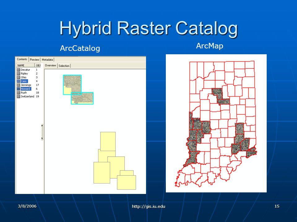 3/8/2006 http://gis.iu.edu 15 Hybrid Raster Catalog ArcCatalog ArcMap