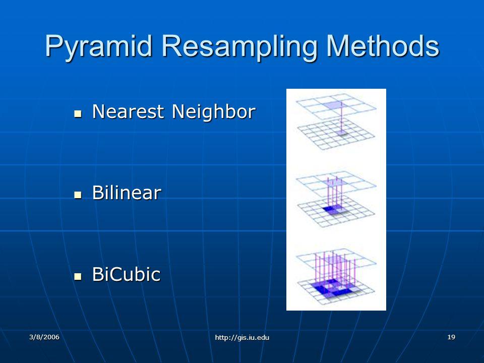 3/8/2006 http://gis.iu.edu 19 Pyramid Resampling Methods Nearest Neighbor Nearest Neighbor Bilinear Bilinear BiCubic BiCubic