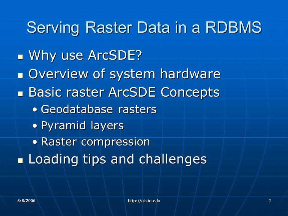 3/8/2006 http://gis.iu.edu 2 Serving Raster Data in a RDBMS Why use ArcSDE.