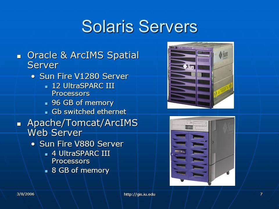 3/8/2006 http://gis.iu.edu 7 Solaris Servers Oracle & ArcIMS Spatial Server Oracle & ArcIMS Spatial Server Sun Fire V1280 ServerSun Fire V1280 Server 12 UltraSPARC III Processors 12 UltraSPARC III Processors 96 GB of memory 96 GB of memory Gb switched ethernet Gb switched ethernet Apache/Tomcat/ArcIMS Web Server Apache/Tomcat/ArcIMS Web Server Sun Fire V880 ServerSun Fire V880 Server 4 UltraSPARC III Processors 4 UltraSPARC III Processors 8 GB of memory 8 GB of memory