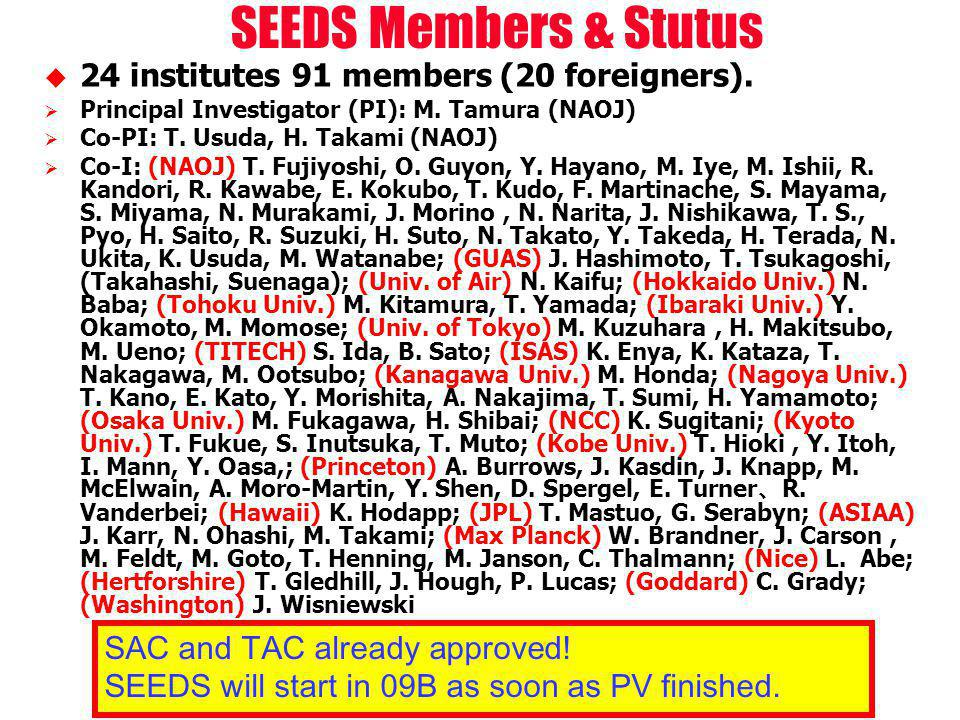 24 institutes 91 members (20 foreigners). Principal Investigator (PI): M.