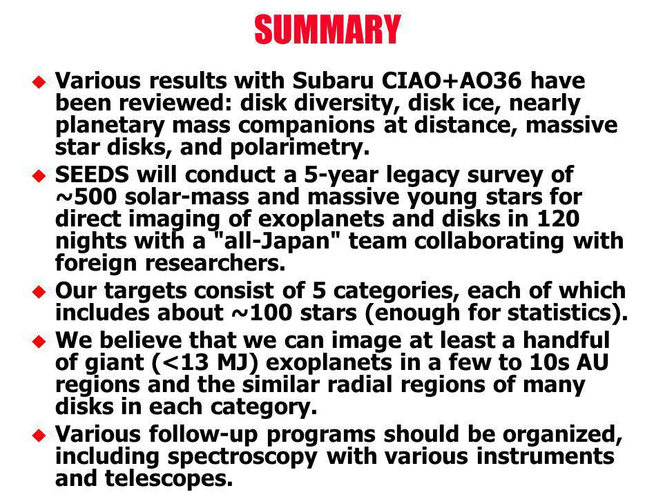 Various results with Subaru CIAO+AO36 have been reviewed: disk diversity, disk ice, nearly planetary mass companions at distance, massive star disks, and polarimetry.