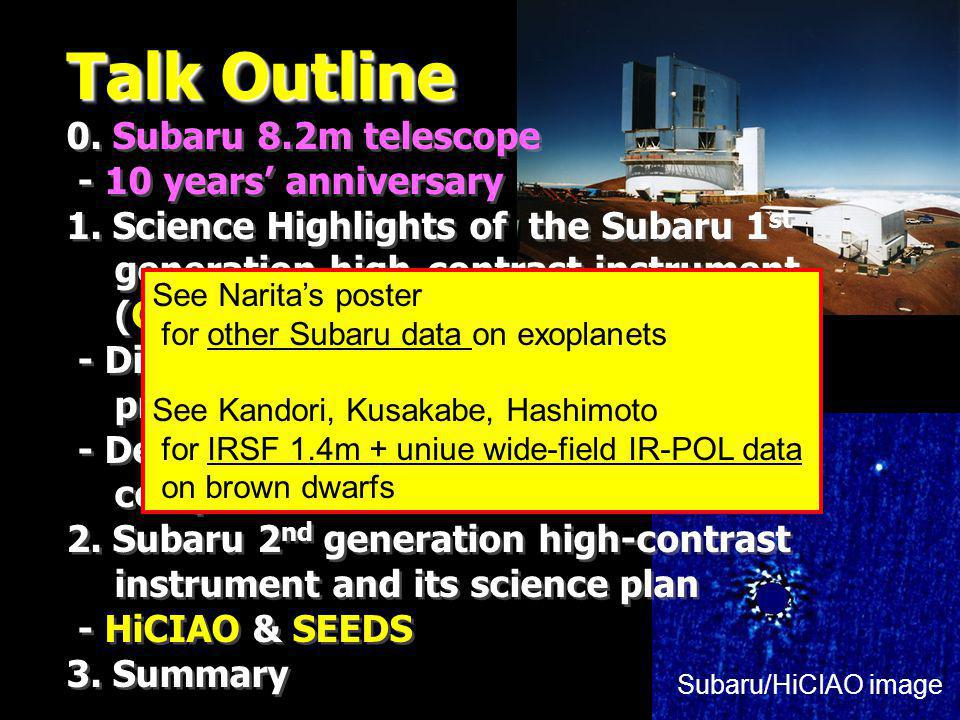 Talk Outline 0. Subaru 8.2m telescope - 10 years anniversary 1.