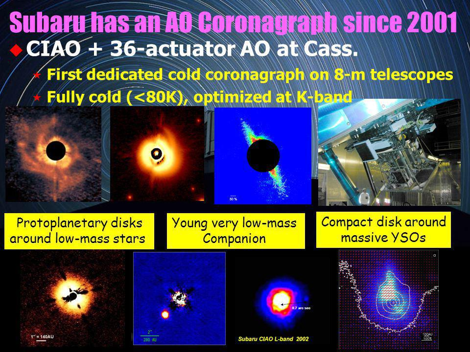 Protoplanetary disks around low-mass stars Compact disk around massive YSOs Subaru has an AO Coronagraph since 2001 CIAO + 36-actuator AO at Cass.