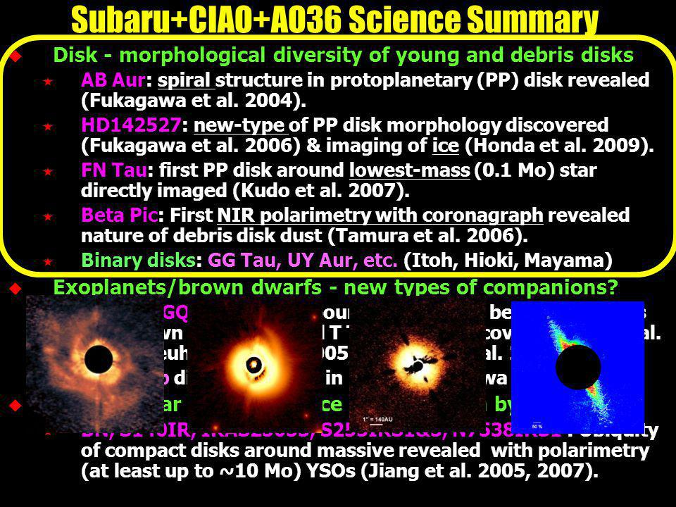 Disk - morphological diversity of young and debris disks AB Aur: spiral structure in protoplanetary (PP) disk revealed (Fukagawa et al.