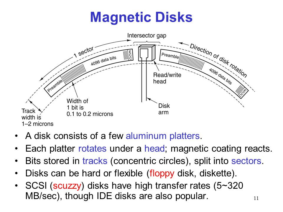 11 Magnetic Disks A disk consists of a few aluminum platters.