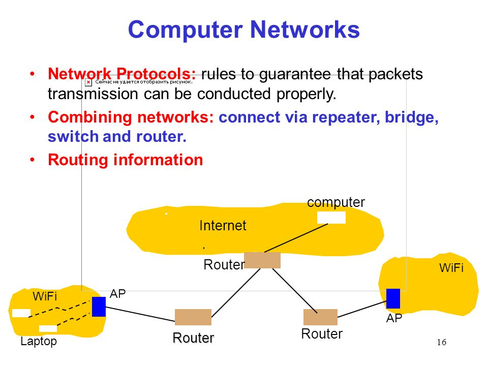 16 Internet WiFi computer Router Laptop Router WiFi Computer Networks AP Router AP Network Protocols: rules to guarantee that packets transmission can be conducted properly.