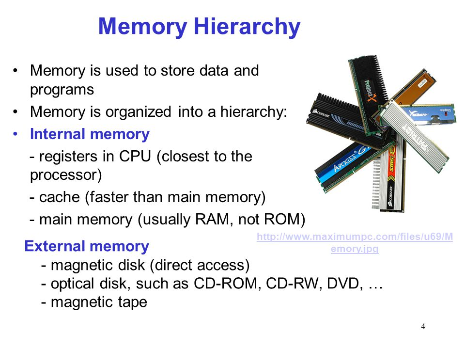 4 Memory Hierarchy Memory is used to store data and programs Memory is organized into a hierarchy: Internal memory - registers in CPU (closest to the processor) - cache (faster than main memory) - main memory (usually RAM, not ROM) External memory - magnetic disk (direct access) - optical disk, such as CD-ROM, CD-RW, DVD, … - magnetic tape http://www.maximumpc.com/files/u69/M emory.jpg