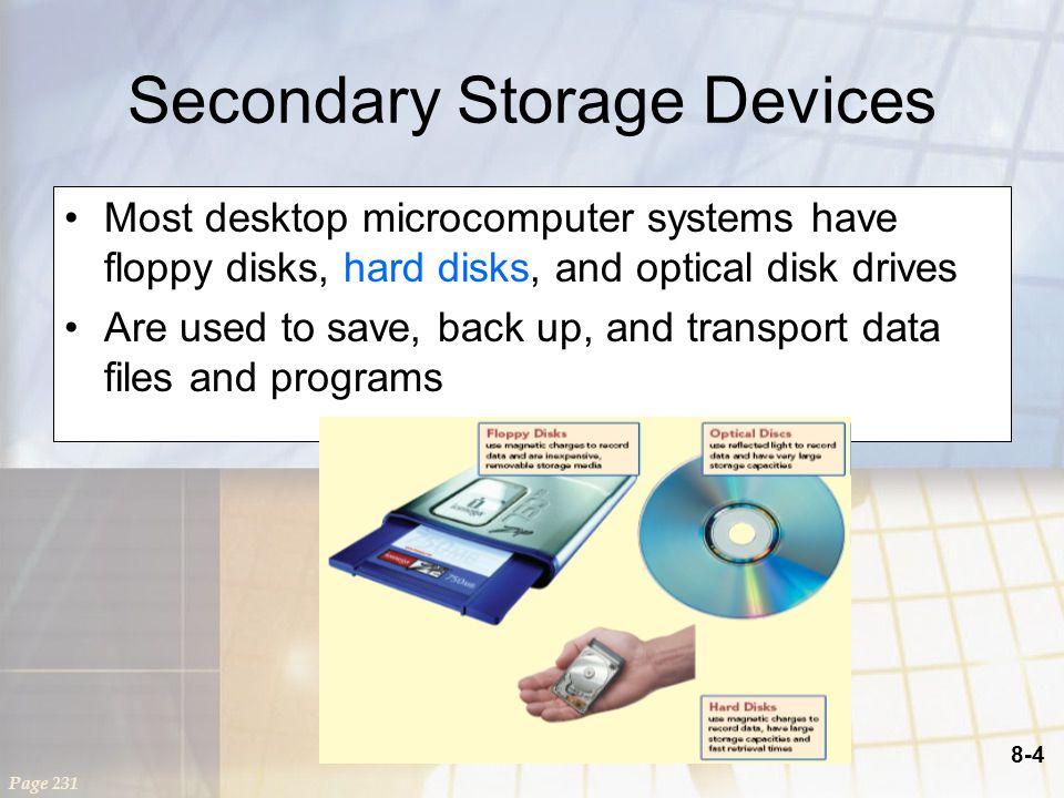 8-5 Storage Primary storage –Volatile storage –Temporary storage Secondary storage –Nonvolatile storage –Permanent storage Secondary storage characteristics –Media –Capacity –Storage devices –Access speed Page 232