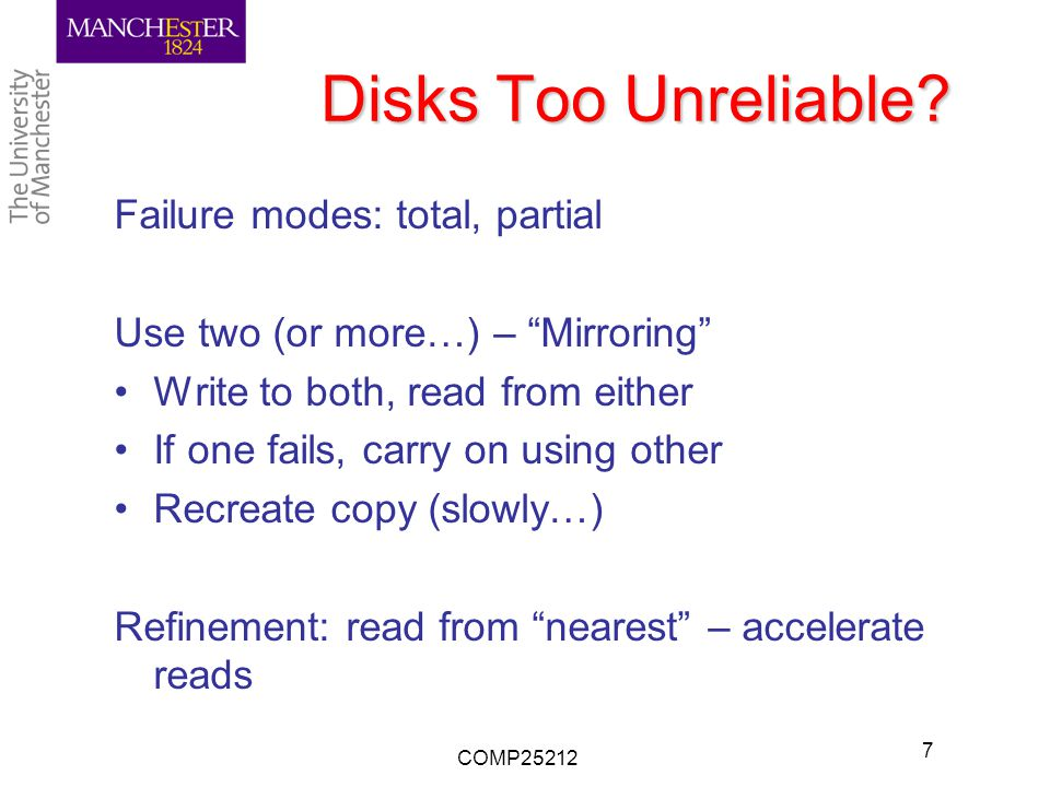 Disks Too Unreliable.