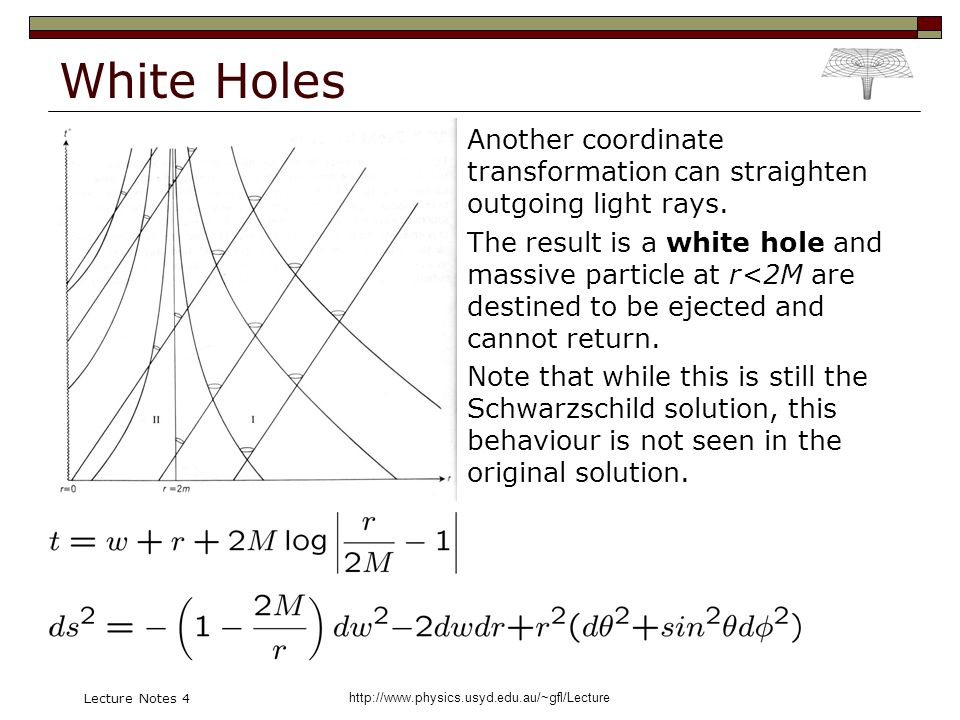 http://www.physics.usyd.edu.au/~gfl/Lecture Lecture Notes 4 White Holes Another coordinate transformation can straighten outgoing light rays.