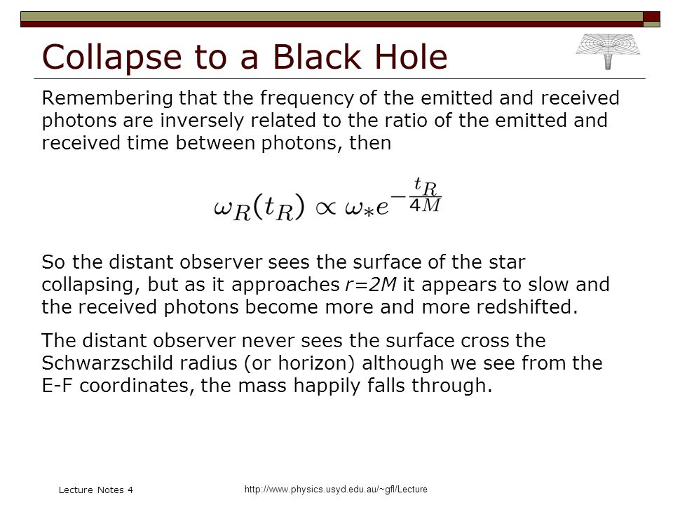 http://www.physics.usyd.edu.au/~gfl/Lecture Lecture Notes 4 Collapse to a Black Hole Remembering that the frequency of the emitted and received photons are inversely related to the ratio of the emitted and received time between photons, then So the distant observer sees the surface of the star collapsing, but as it approaches r=2M it appears to slow and the received photons become more and more redshifted.