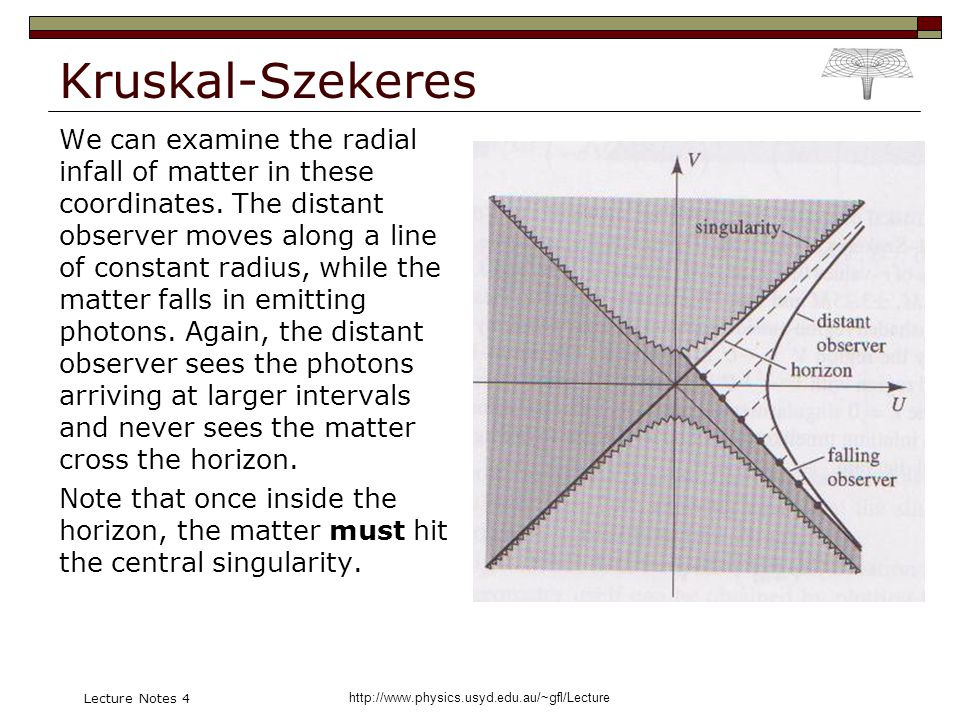 http://www.physics.usyd.edu.au/~gfl/Lecture Lecture Notes 4 Kruskal-Szekeres We can examine the radial infall of matter in these coordinates. The dist