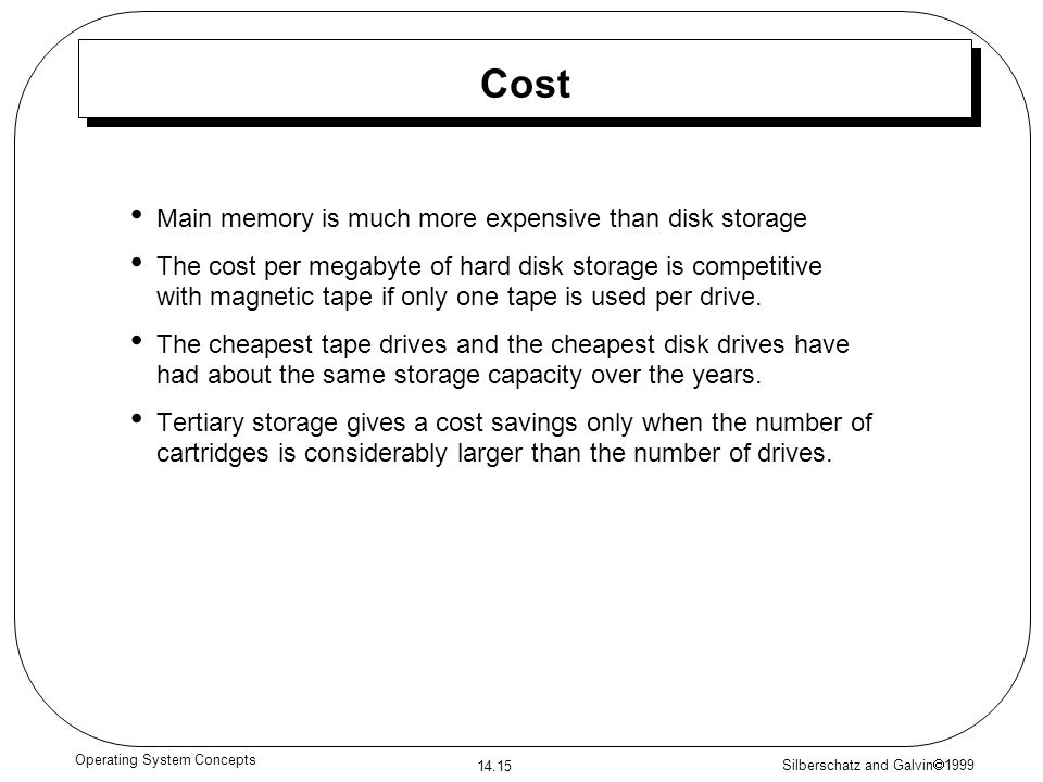 Silberschatz and Galvin 1999 14.15 Operating System Concepts Cost Main memory is much more expensive than disk storage The cost per megabyte of hard d