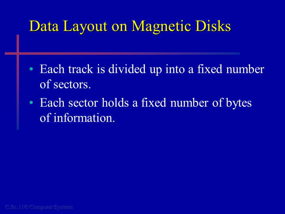 Data Layout on Magnetic Disks Each track is divided up into a fixed number of sectors. Each sector holds a fixed number of bytes of information.