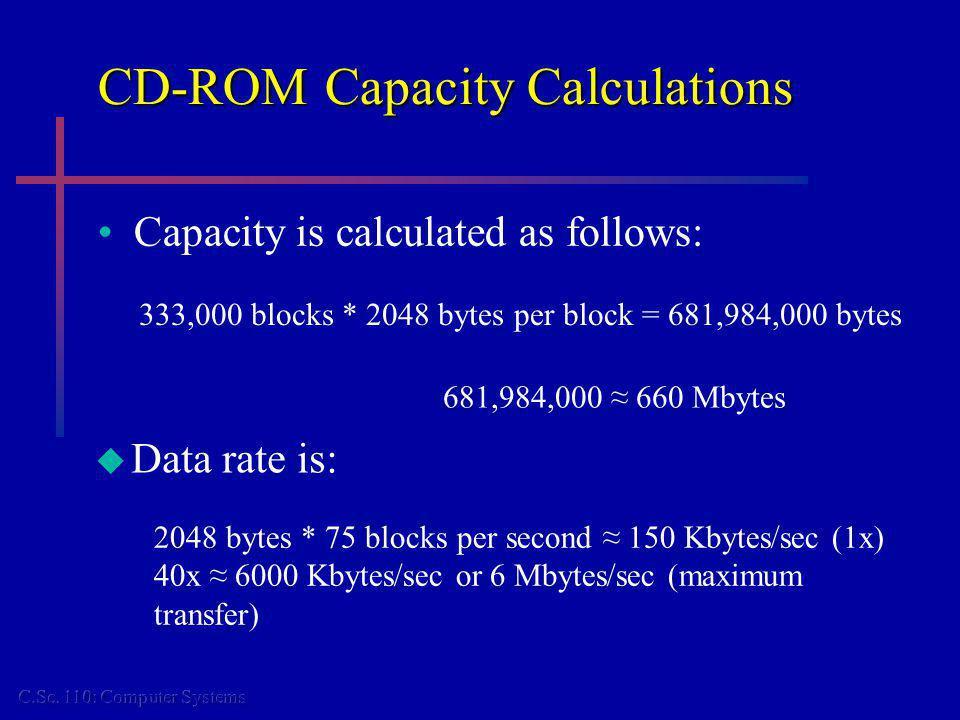 CD-ROM Capacity Calculations Capacity is calculated as follows: 333,000 blocks * 2048 bytes per block = 681,984,000 bytes 681,984,000 660 Mbytes Data rate is: 2048 bytes * 75 blocks per second 150 Kbytes/sec (1x) 40x 6000 Kbytes/sec or 6 Mbytes/sec (maximum transfer)