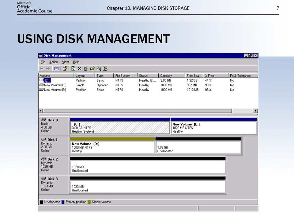 Chapter 12: MANAGING DISK STORAGE7 USING DISK MANAGEMENT