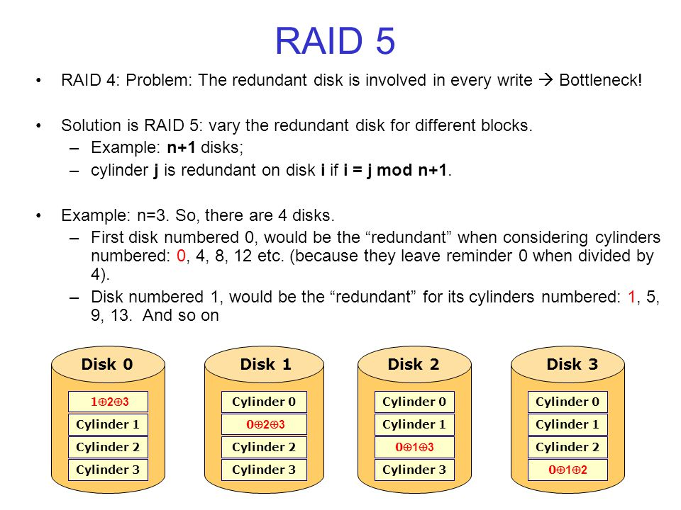 RAID 5 RAID 4: Problem: The redundant disk is involved in every write Bottleneck.