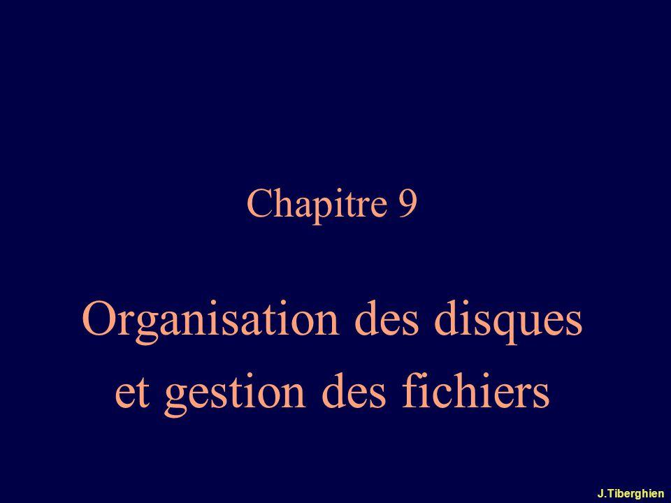 J.Tiberghien Chapitre 9 Organisation des disques et gestion des fichiers