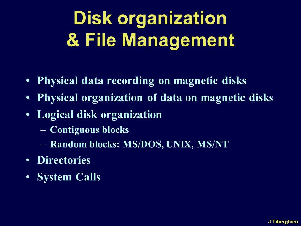 J.Tiberghien Disk organization & File Management Physical data recording on magnetic disks Physical organization of data on magnetic disks Logical disk organization –Contiguous blocks –Random blocks: MS/DOS, UNIX, MS/NT Directories System Calls