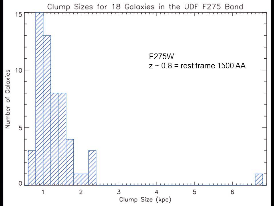 F275W z ~ 0.8 = rest frame 1500 AA