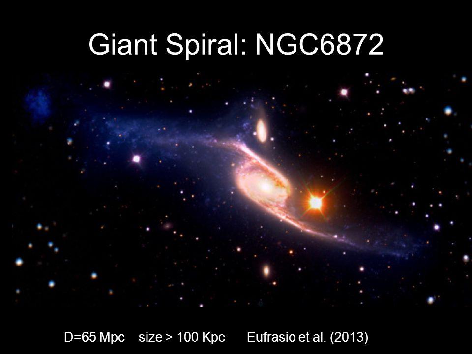 Giant Spiral: NGC6872 D=65 Mpc size > 100 Kpc Eufrasio et al. (2013)