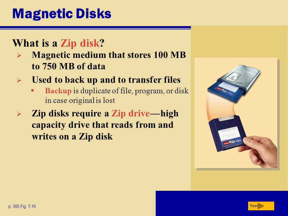Magnetic Disks What is a Zip disk.p. 365 Fig.