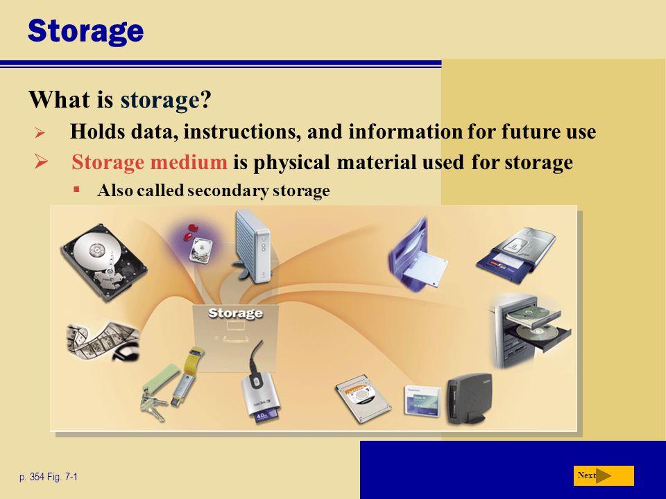 Storage What is storage.p. 354 Fig.